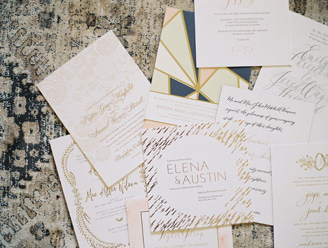 Along with creating luxe custom designs, Virginia gives her client plenty of options by also carrying various designer commercial lines,such as:   Bella Figura    Crane and Co    Haute Papier    Tag and Company,etc.