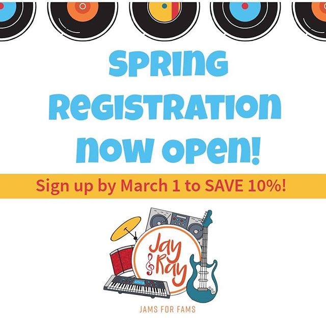 🌺🌸🌼Spring registration is now OPEN! 🌺🌸🌼 Sign up before March 1st and save 10% (that's $33-$60!) Use code springsale10 to reserve your spot today! ⤵️ https://www.jayandray.com/register/ . . . . #jayandray #greenwichmoms #darienmoms #newcanaanmoms #norwalkmoms #stamfordmoms #rowaytonmoms  #fairfieldct #ctkids #kidsrock #toddlersrock #mommyandme #daddyandme #kidsmusicclass #babymusicclass #babiesrock #stamfordct #greenwichct #darienct #newcanaanct #rowaytonct #fairfieldcountykids #fairfieldcounty #springsession