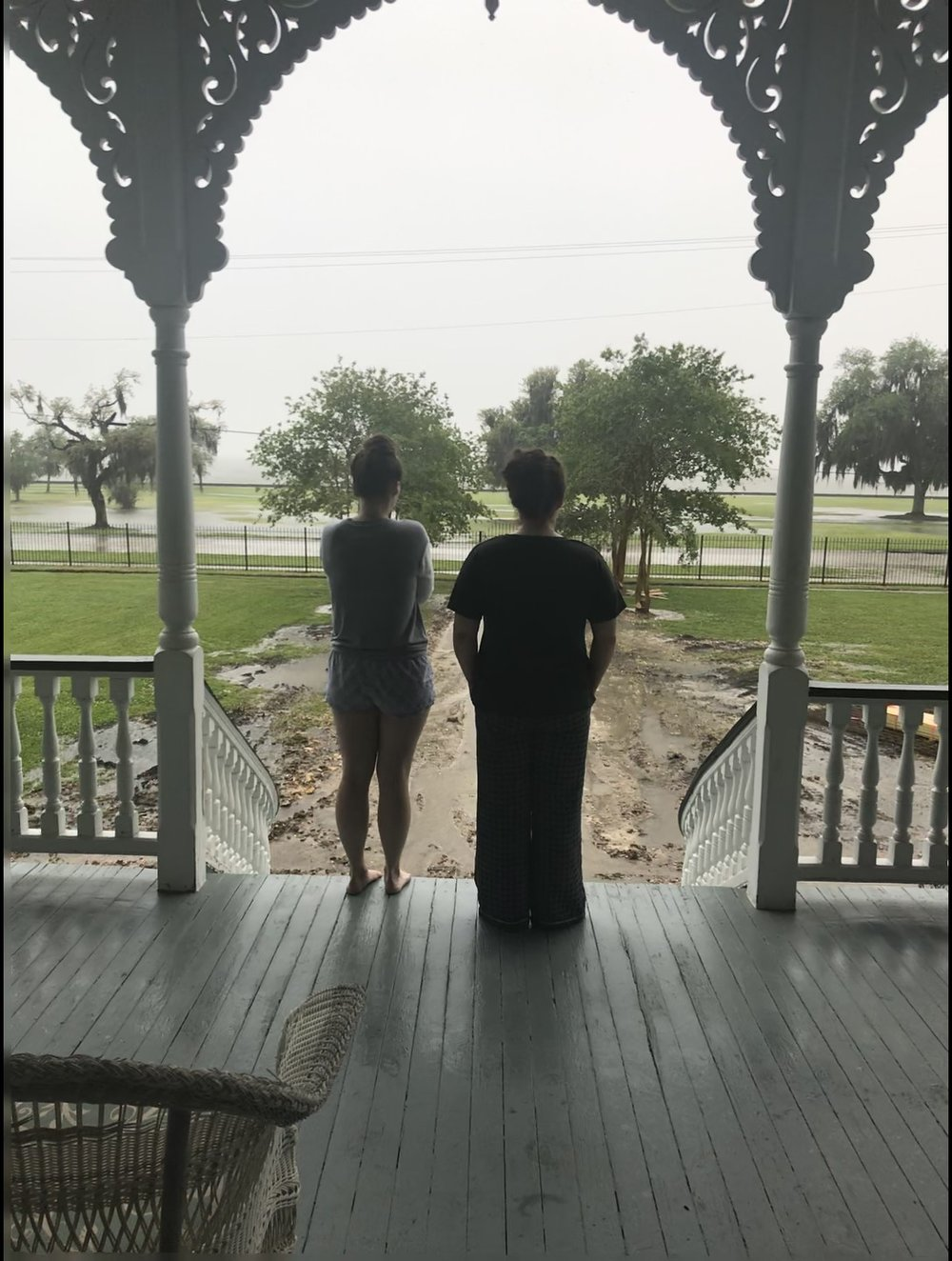 Here, Callie and I contemplate the rain and the effects is has on our plans. In our pajamas, naturally.