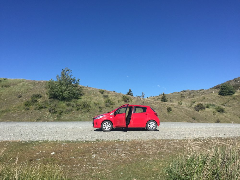 Our trusty lil car on one of our many stops along the road.