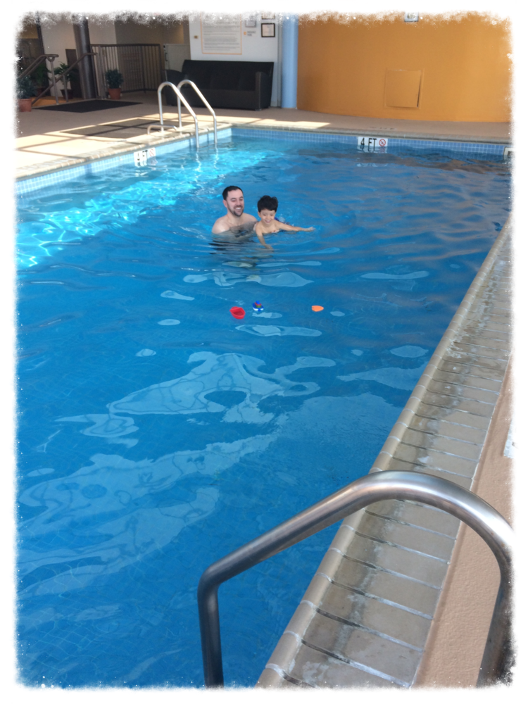 Awesome brother taking my little guy for a swim.