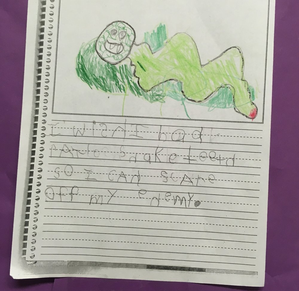 "A shining example of something I would have shared with Dad. ""I wish I had rattlesnake teeth so I could scare off my enemy"". I'm not sure who my five year old's enemy is, but I'm glad he has a plan."