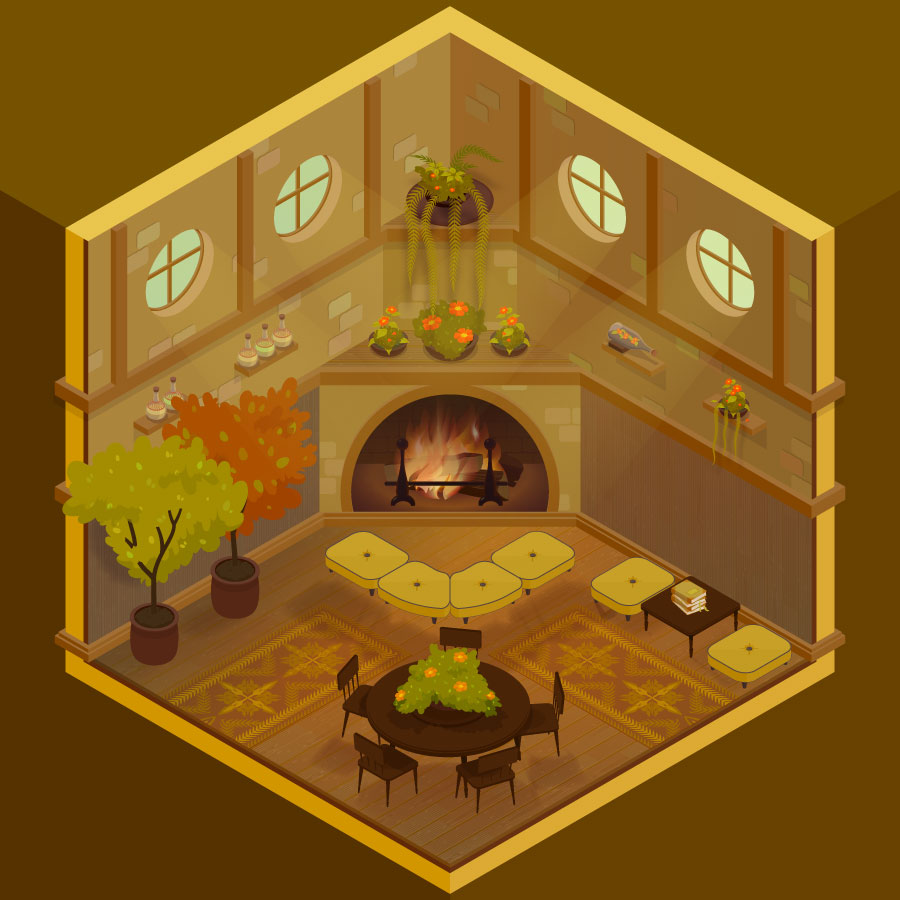 HUFFLEPUFF COMMONROOM - HOGWARTS ISOMETRIC