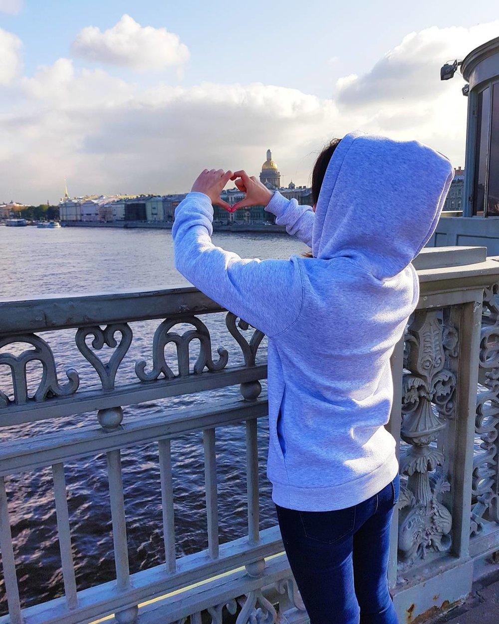 Looking over the Neva River in Saint Petersburg, Russia