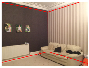 Figure 6: Room layout after incorporating the vanishing points with the result from convolutional neural networks.