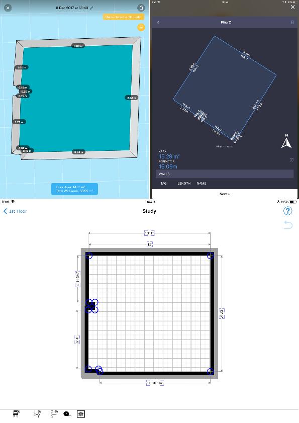 Fig. 6: Floor plan. Up left: TapMeasure; Up right: PLNAR; Bottom: MagicPlan.