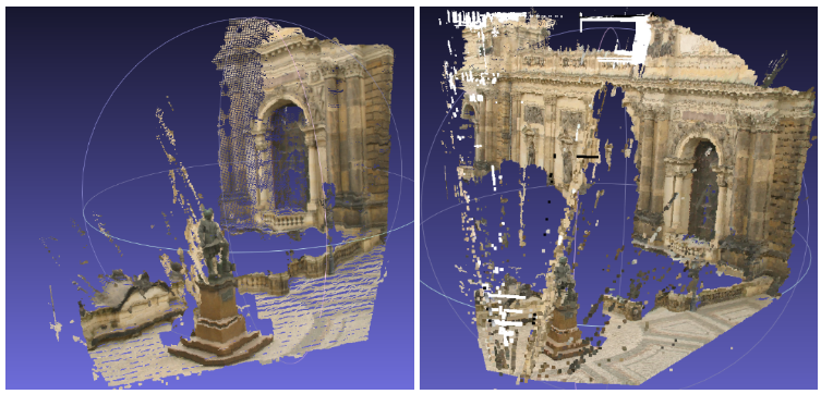 Fig. 5: dense 3D point cloud computed from the images in Fig. 3. Different parameters and different algorithms (Semi Dense Stereo Matching or ELAS for example) leads to potentially quite different point clouds.