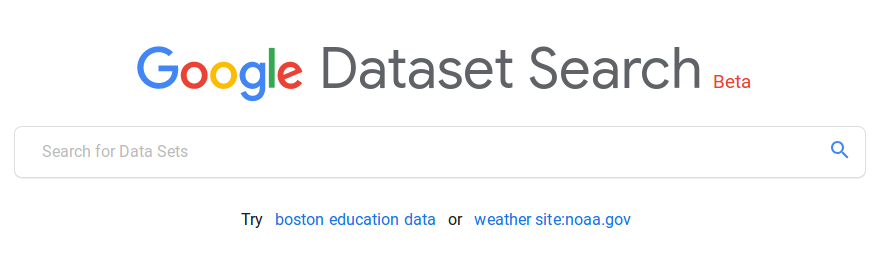 The splash page for Google Dataset Search
