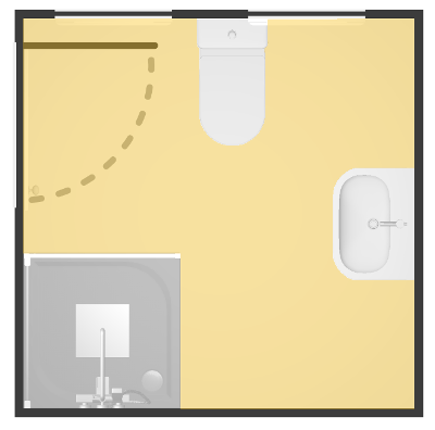 The unoccupied floor space is indicated in yellow