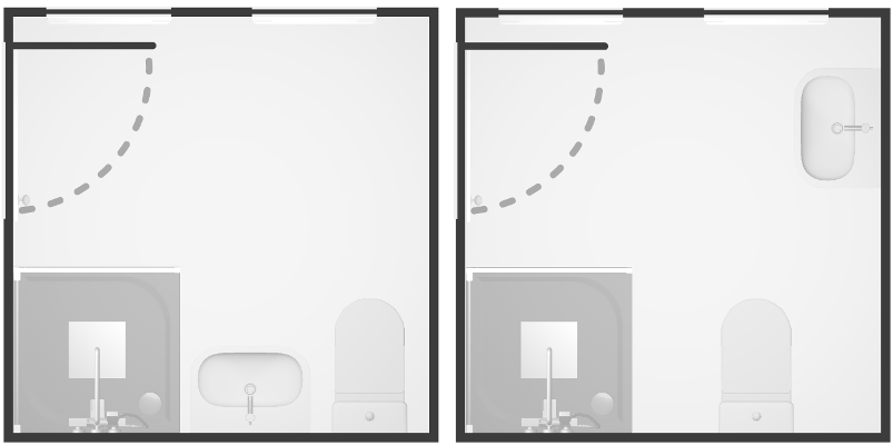 We prefer layouts that disperse the products around the room. Here we prefer the layout on the right, because the layout on the left squashes all products along one wall.