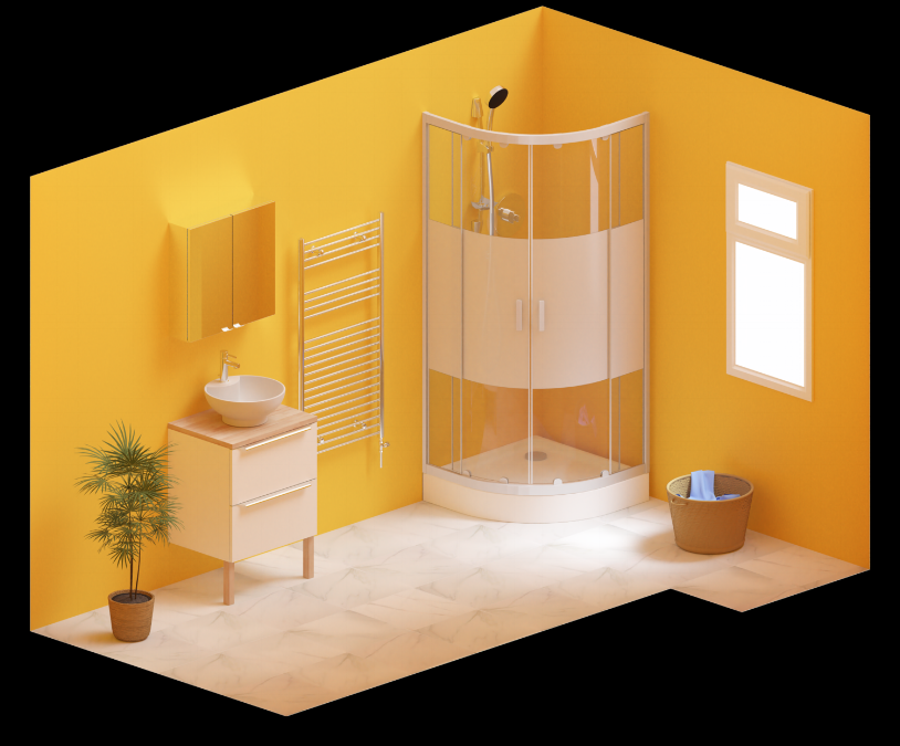 An orthographically projected image of a bathroom designed on DigitalBridge software