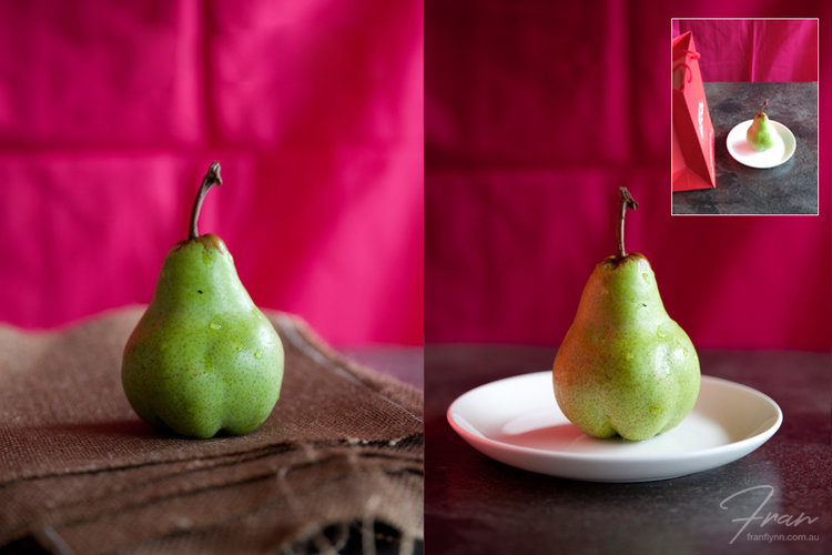 Note how in the image on the left, the removal of the white plate has reduced the reflections on the base of the pear. The image on the right has a red relfection on the left side of the pear, courtesy of a small red shopping bag (inset)