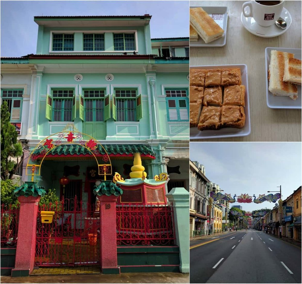 Breakfast in Singapore's Little India with kaya toast and kopi coffee