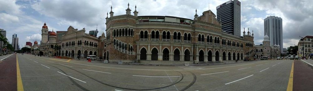 Panoramic capture of Merdeka Square's buildings