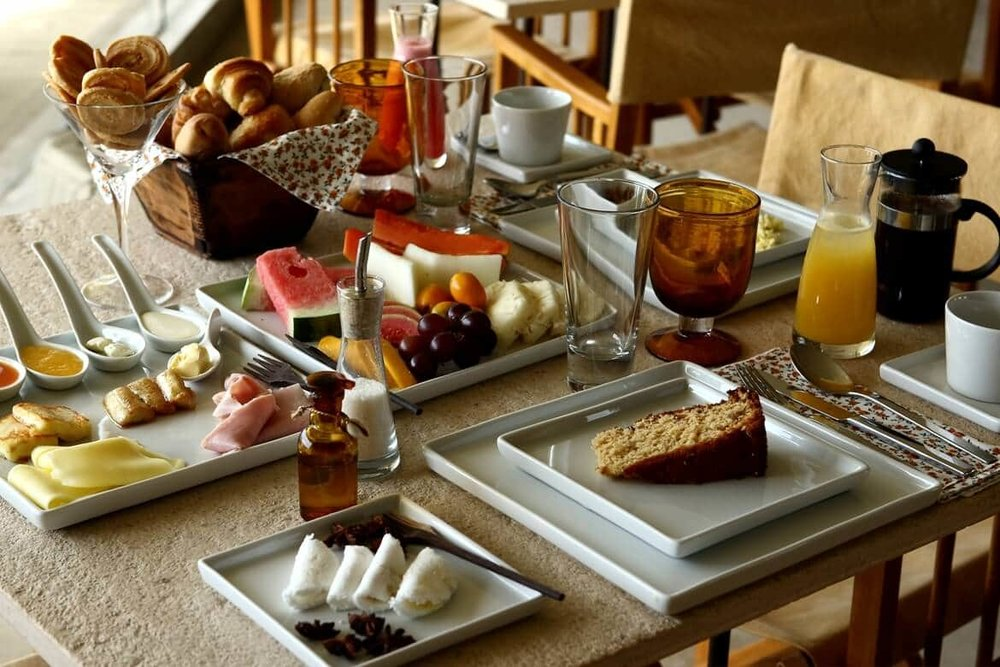 Luxurious breakfast with various delicious options