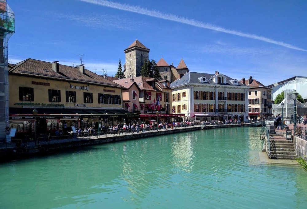 Beautiful buildings by Annecy canals