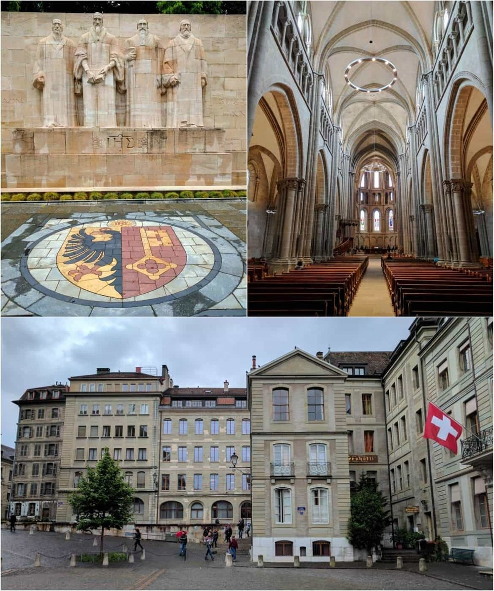 Reformation wall and St Pierre cathedral in Geneva