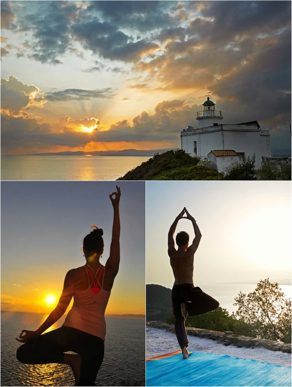 Yoga practice in front of the most amazing sunset