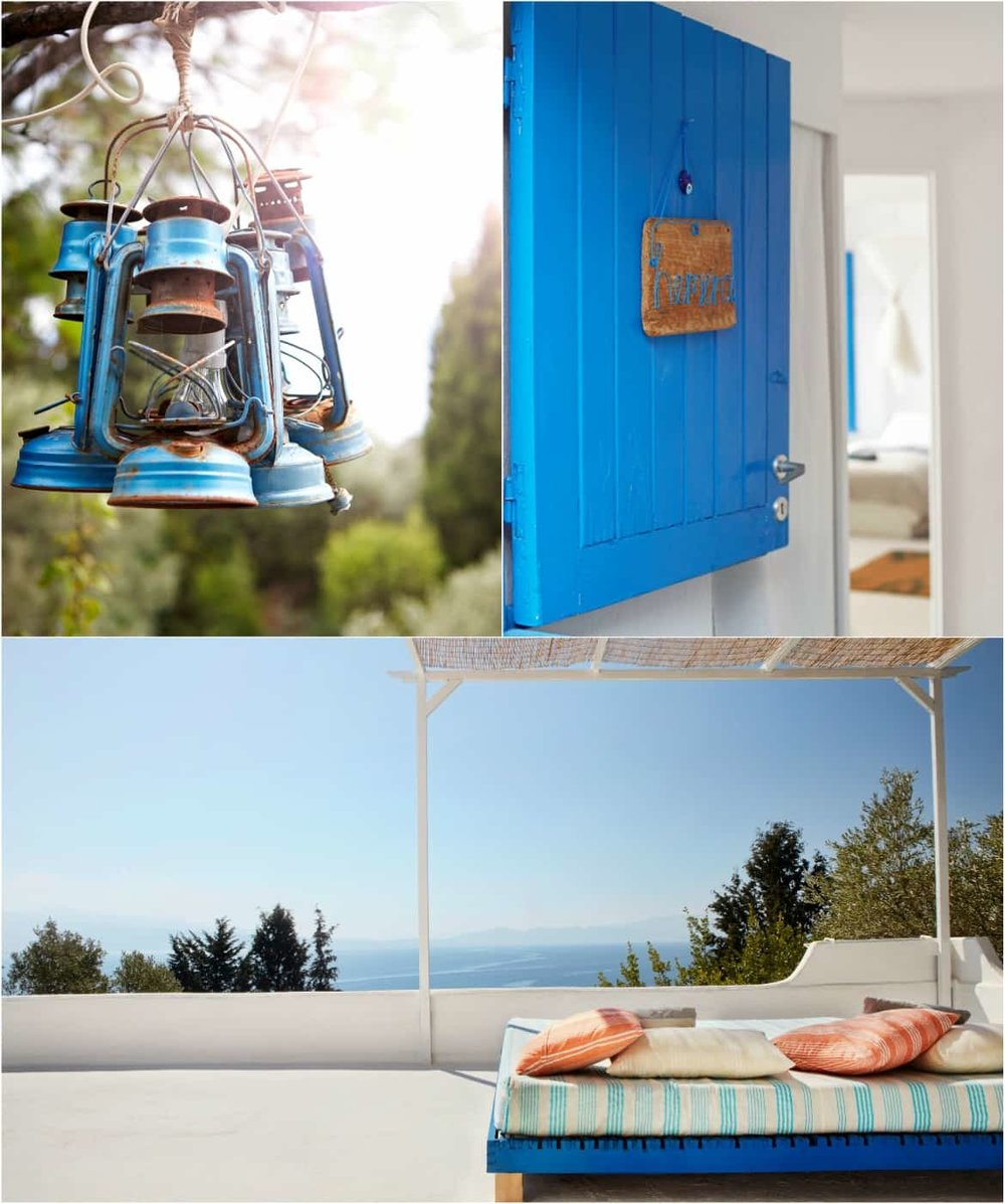Blue details in the most luxurious yoga retreat in Greece