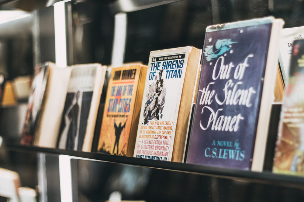 A great variety of science-fiction books is presented in the exhibition