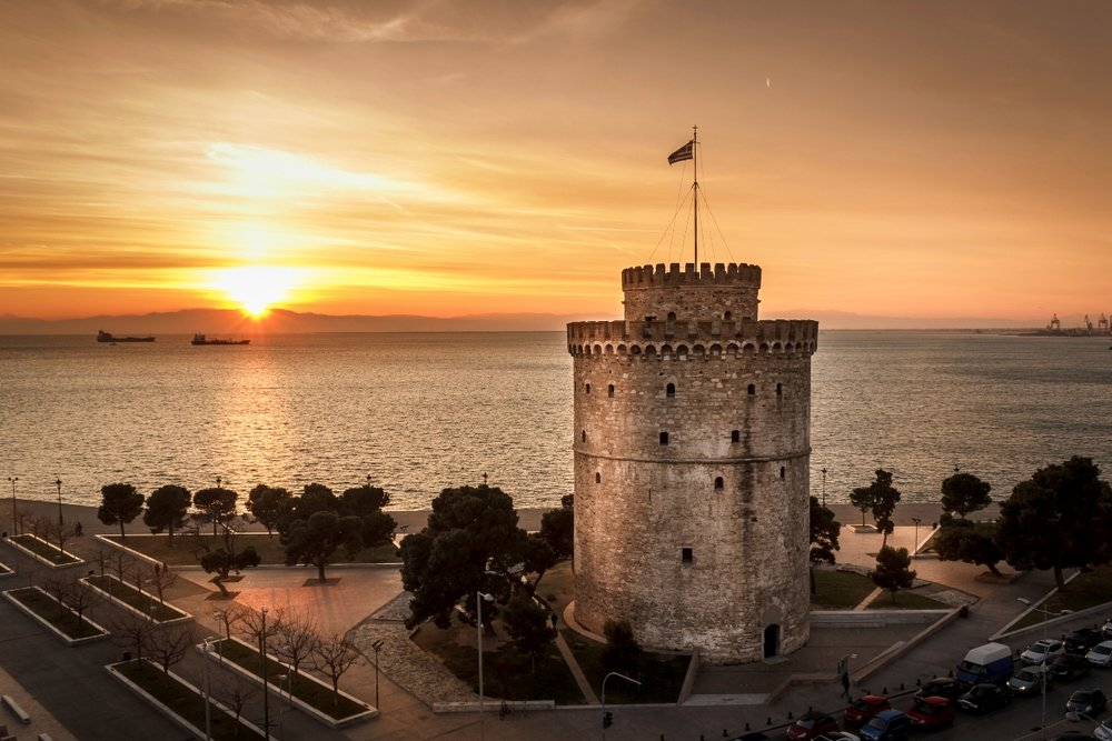 White tower in Thessaloniki during sunset time