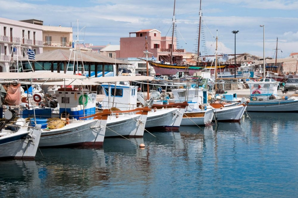 Boats lying at Kalamata port