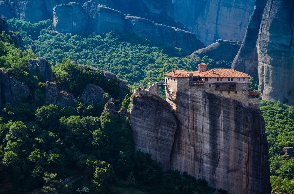 Meteora monastery on the top of a cliff