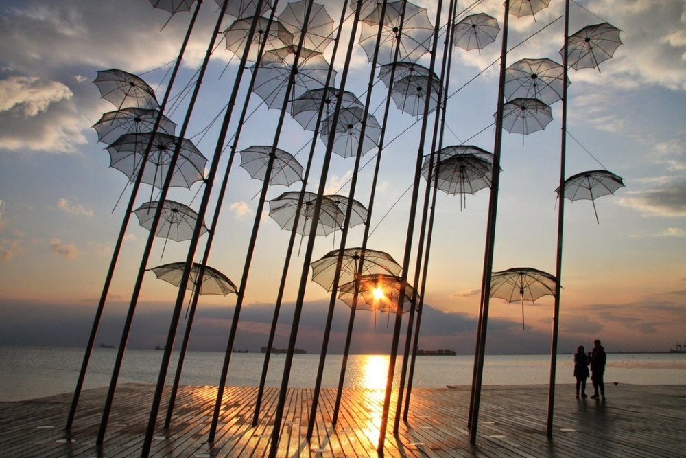 The umbrella installation at Thessaloniki's marina