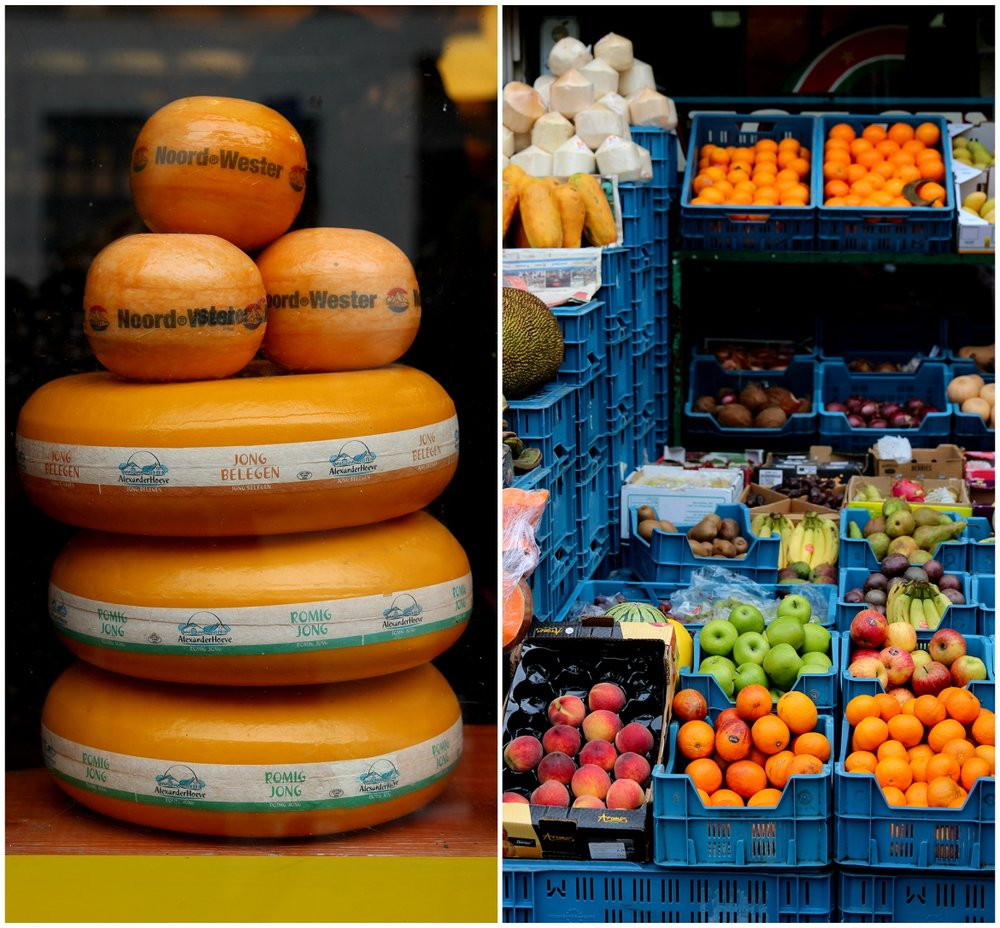 Dutch cheese and fresh fruit