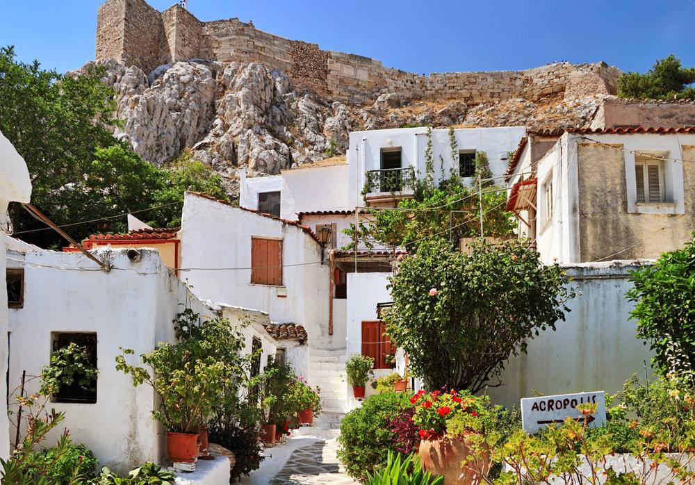 Anafiotika neighborhood under the Acropolis. Source:  DiscoverGreece