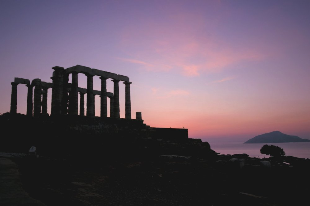 Sunset over the temple of Poseidon. Source: Truevoyagers