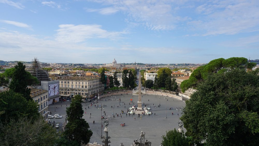 The view of Piazza del Popolo from Villa Borghese Gardens. Source: Truevoyagers