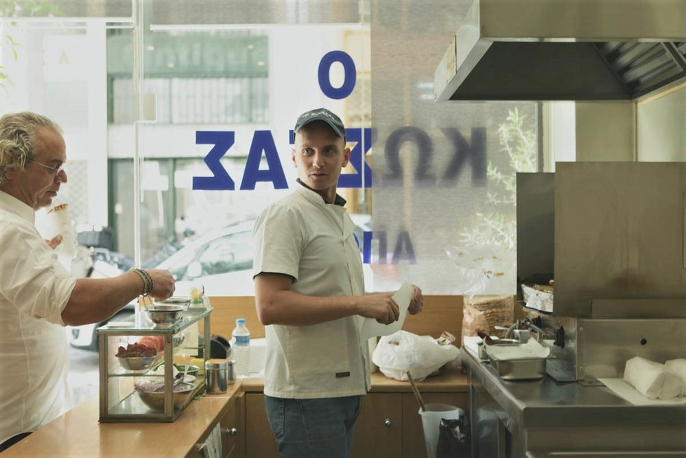 """Inside """"Kostas""""street food spot in Athens, looking for the most authentic souvlaki. Source:  Ough"""