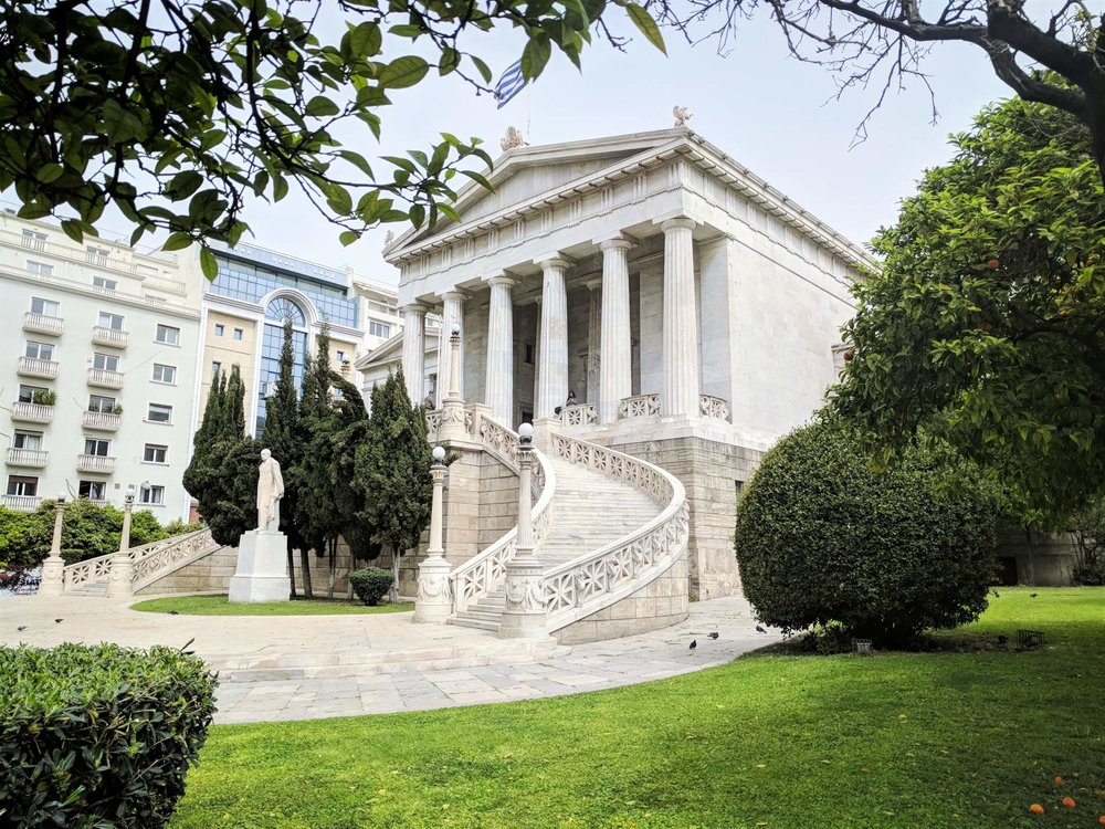 The old building of the National Library of Athens is an exceptional example of neoclassical architecture. Source: Truevoyagers