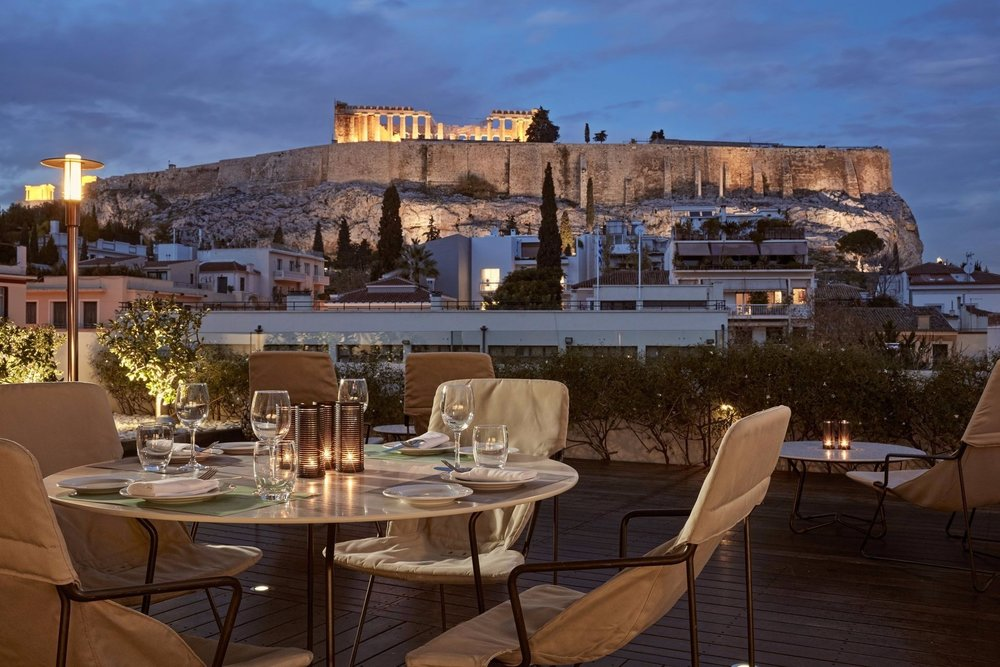 Jaw-dropping view from  Point A  bar at the rooftop of  Herodion  Hotel in Athens. Source:  Herodion