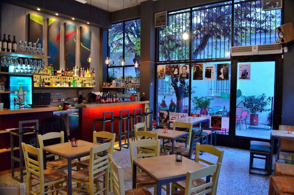 The interior of  Alphaville  cafe-bar in Metaxourgeio, where you can enjoy a raki-cocktail. Source: Alphaville
