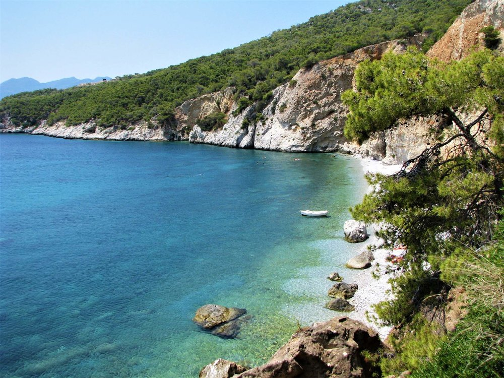 Chalikiada nudist beach in Agistri island. Source: Greece.com