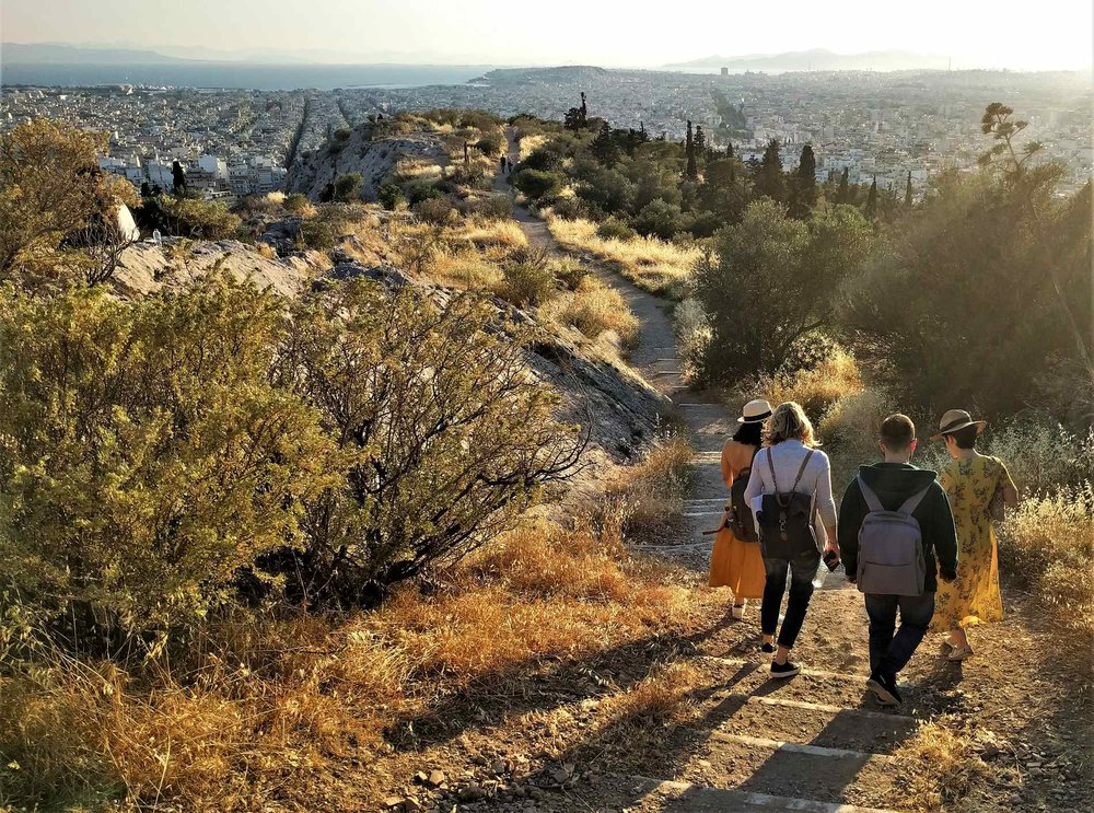 Walking down Philopappou Hill during our mythological tour, the Boudoir of the Gods.