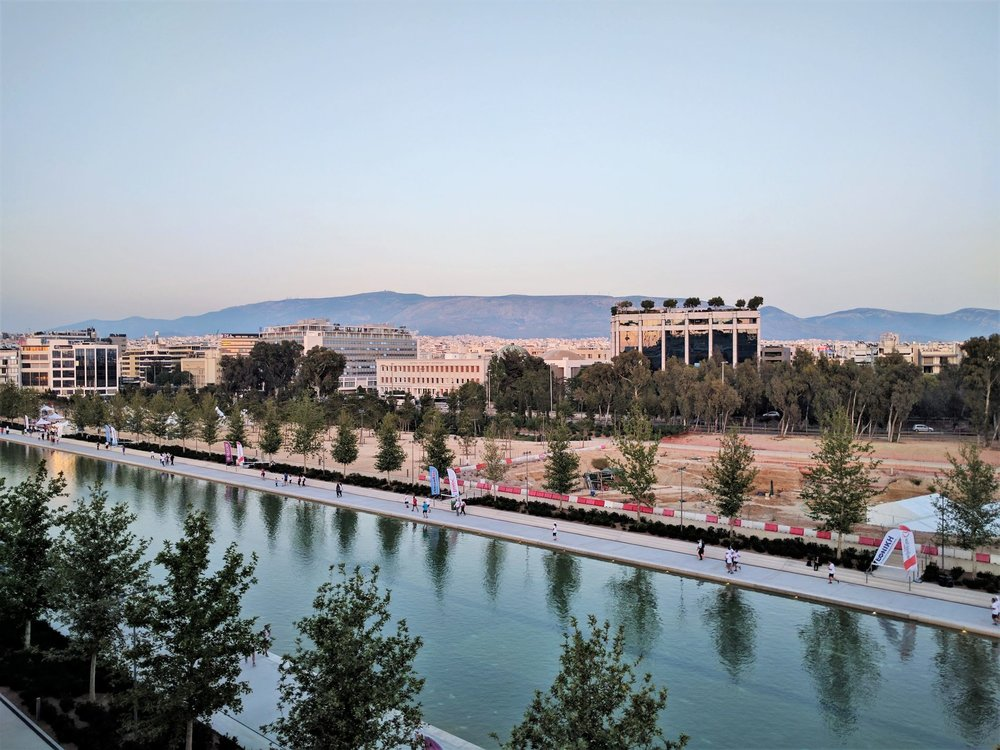 The view from the top of SNFCC to the artificial stream of the complex.