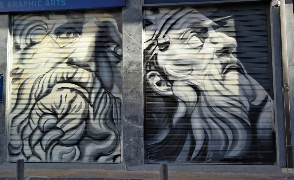 The Greek Gods graffitis are a great example of how history influences modern art in the streets of Athens.