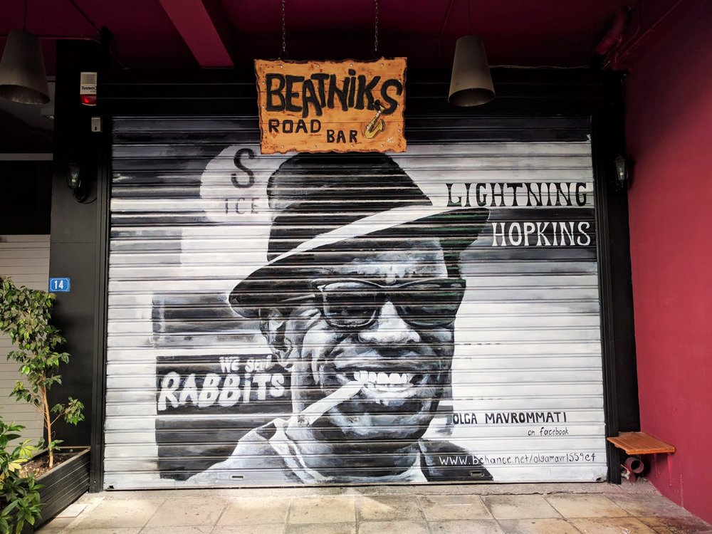 Beatniks Road Bar graffiti art by Olga Mavrommati.