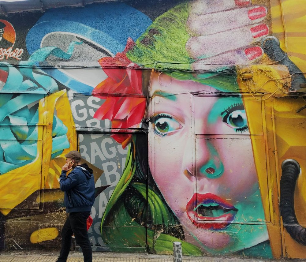 Athens is an artistic city and it can be seen on its streets thanks to the various innovative and colorful graffiti. Mural created by Alex Martinez