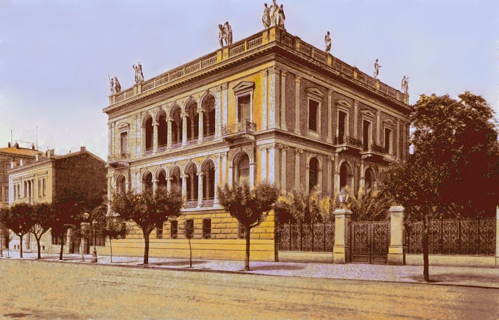 The Iliou Melathron mansion in 1910. Source: Martin Baldwin-Edwards (digital enhancements) - anonymous postcard, personal collection of Martin Baldwin-Edwards