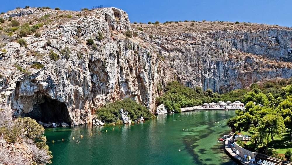 Lake Vouliagmeni, with minerals said to have healing properties, is a not-to-be-missed spot of the Athens Riviera. Source: trip2athens.com