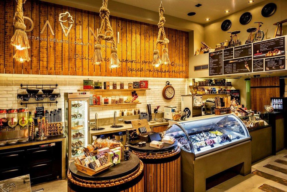 The interior of Da Vinci gelato, designed with attention to detail.