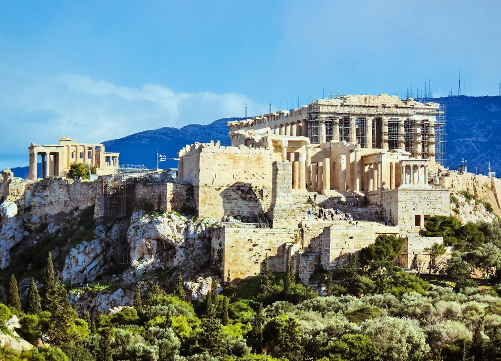 The Parthenon, the symbol of Ancient and Modern Greece, as seen from Philopappou Hill. Source: Truevoyagers
