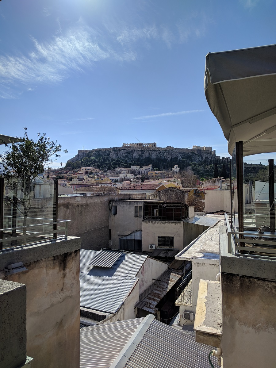 For an amazing view of Acropolis, visit  Couleur Locale 's terrace cafe.