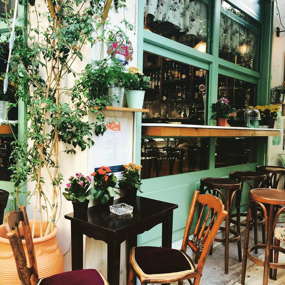 If the weather is nice, sit outside and watch the people passing by in Koukaki neighborhood of Athens. Source:  Lotte Café Bistrot