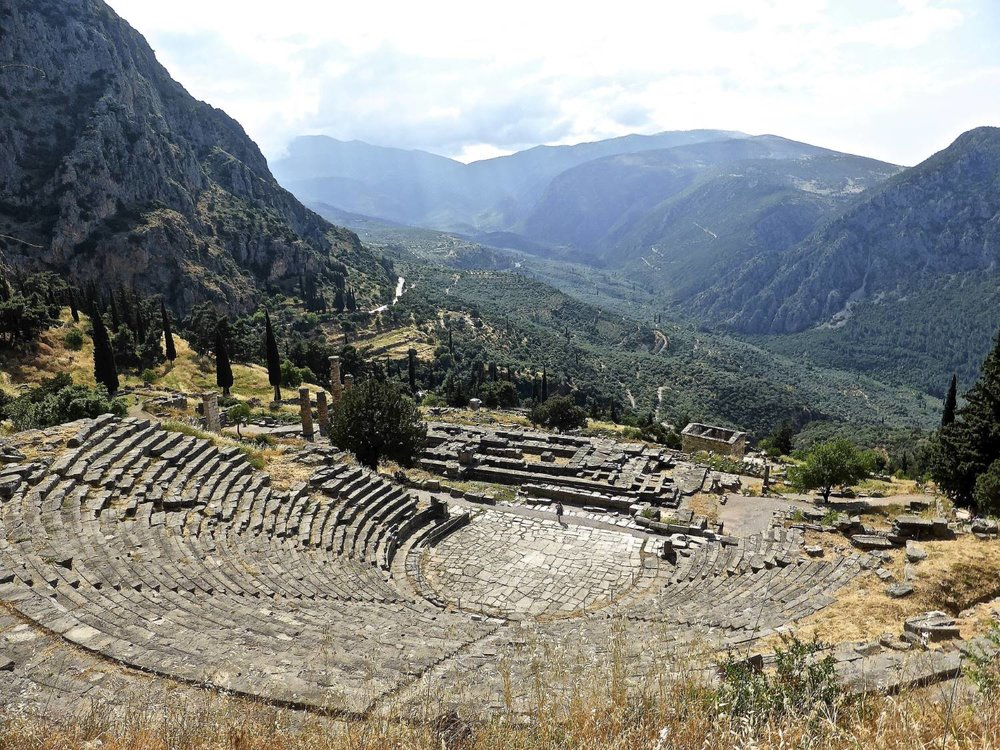 The ancient theatre of Delphi, built in 400 BC of white stone from Parnassus.