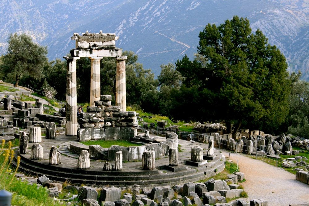 The  tholos  of Delphi marks the sanctuary of Athena Pronaia.